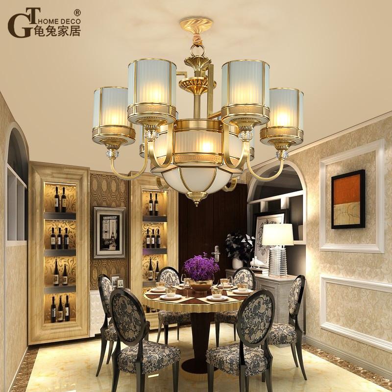 龟兔 全铜吊灯新中式客厅餐厅别墅酒店灯具欧美复古卧室书房地中海