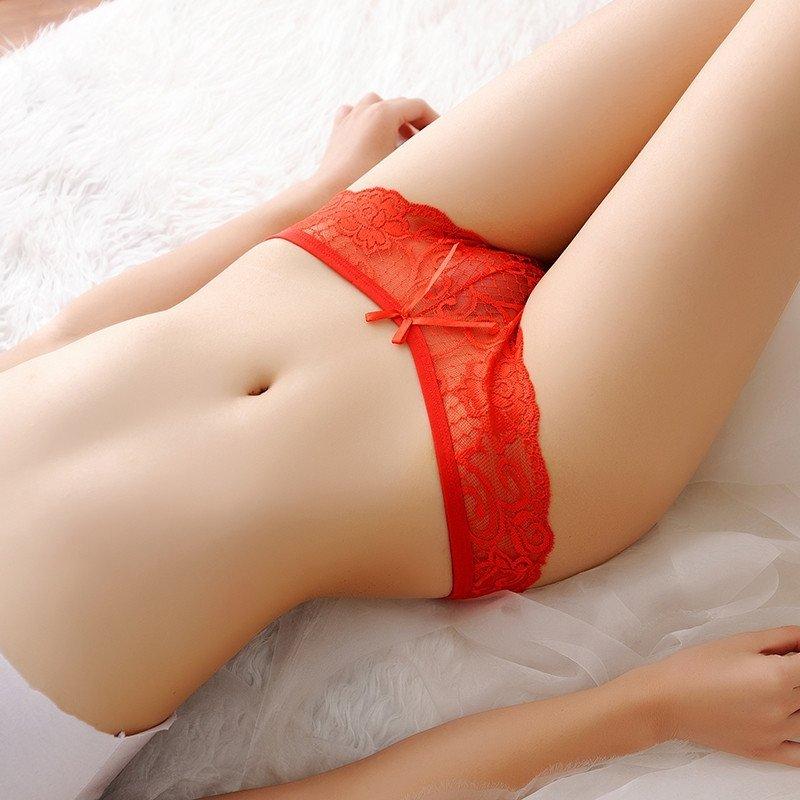慕姿媛 性感透明刺绣女士低腰三角裤 女式透视超薄提臀少女小内内底裤