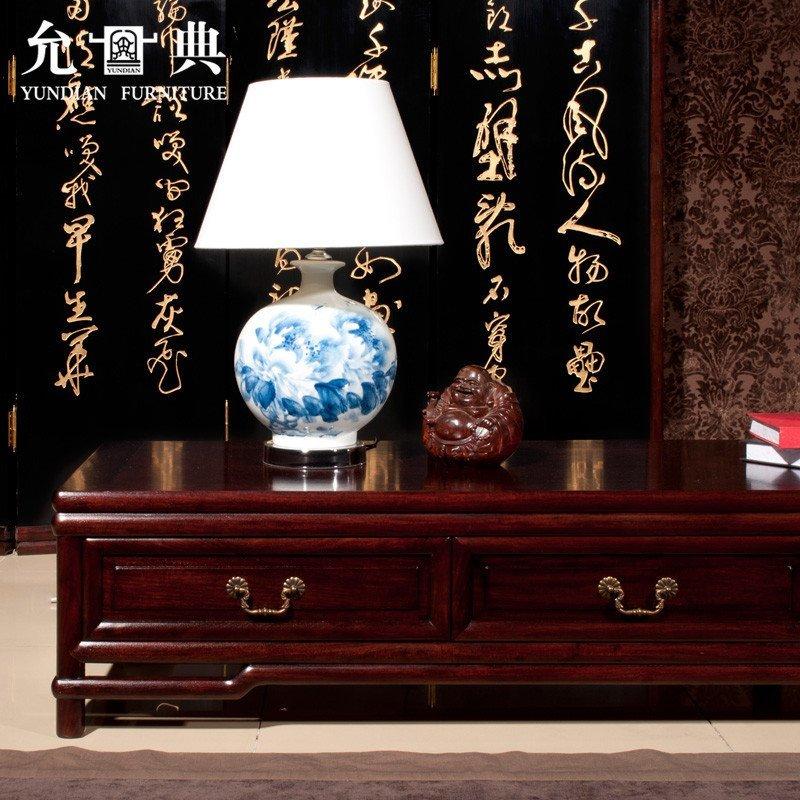 预售 允典红木家具 花梨木明式系列低电视柜 明清古典 客厅矮柜