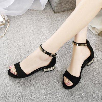 爵拓(JUETUO)平跟凉鞋女夏平底中跟2016新款一字带扣羊皮粗跟大码女鞋