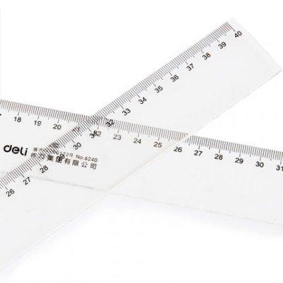 得力文具 deli 6240 40cm 透明直尺 有机直尺 塑料尺