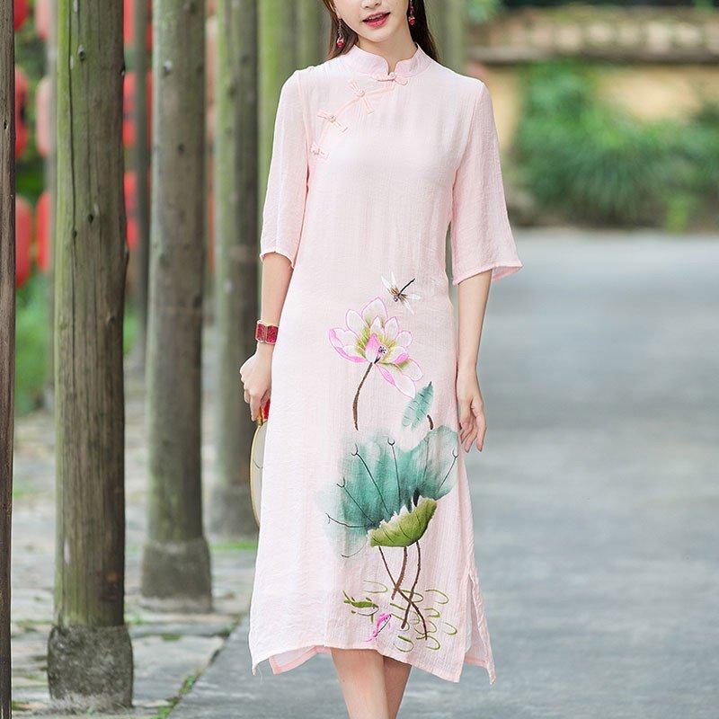 复古中国风手绘改良旗袍式仙女裙印花连衣裙2016夏季新款文艺民族风