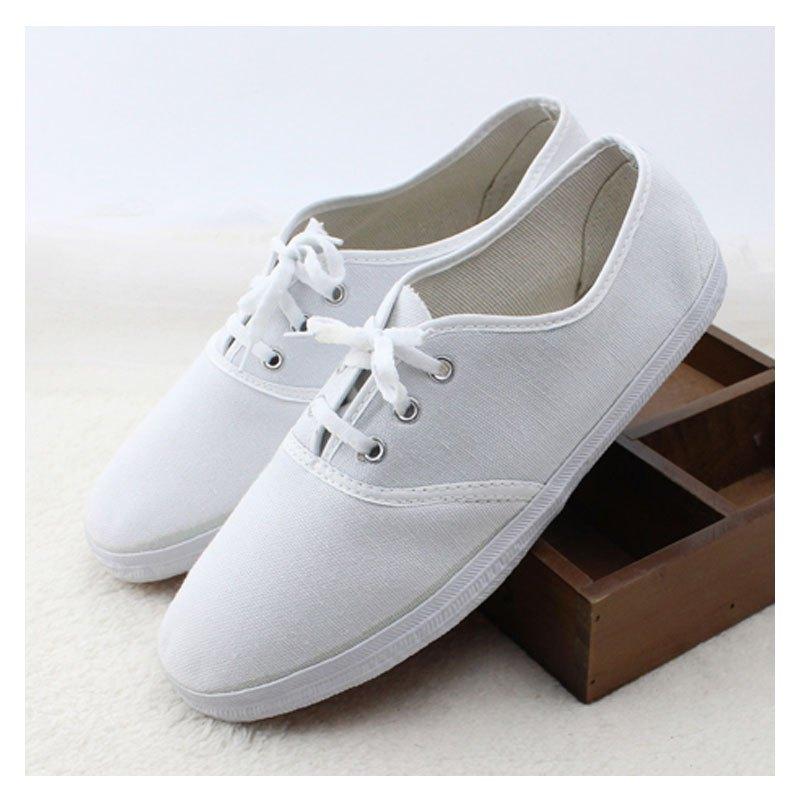 护士鞋_平底一脚蹬白色护士鞋美容师舞蹈工作鞋儿童亲子单鞋布鞋小白鞋女小白