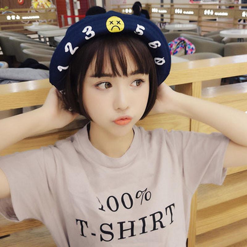 2017年新款韩版夏季帽子女可爱少女数字渔夫帽百搭学生遮阳帽字母贴布