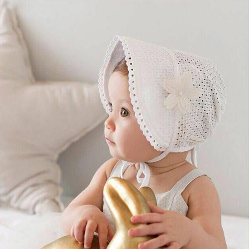 韩国婴儿帽子镂空花朵公主帽子3-12个月女宝宝夏天纯棉开口系绳可调节
