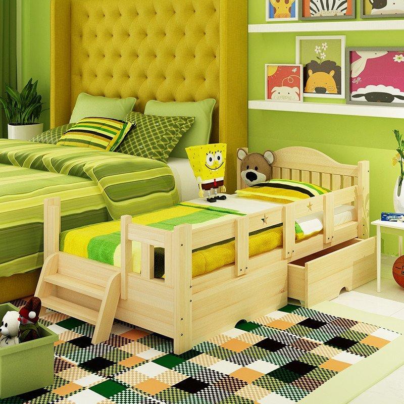 金日安正 儿童床 男孩女孩实木床 公主床 松木家具 小孩床 带护栏小