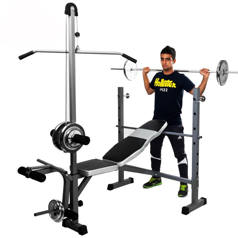 家庭健身器材_多功能家用健身器材卧推器深蹲架 举重床杠铃架套装健身训练