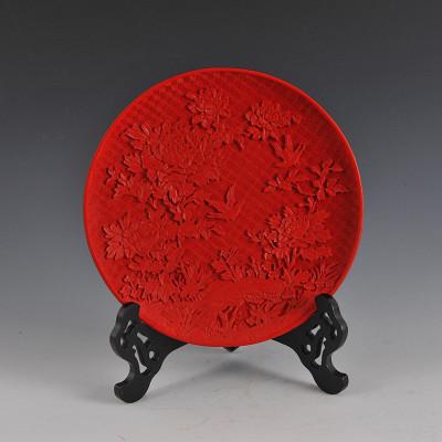 中工美 禮物 漆器花鳥盤 工藝品 家居擺件