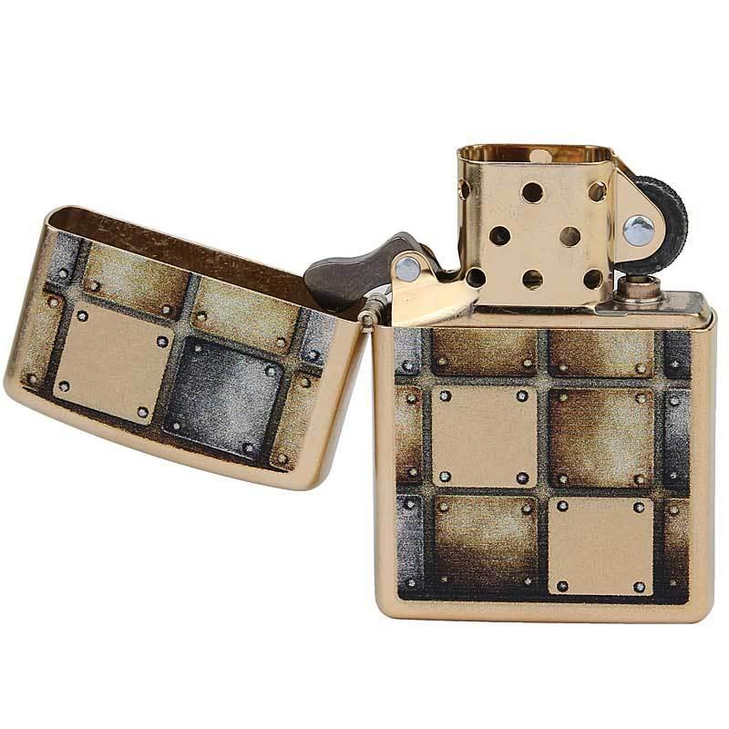芝宝zippo打火机 仿古铜/彩印 28539 金方格子 金属方块