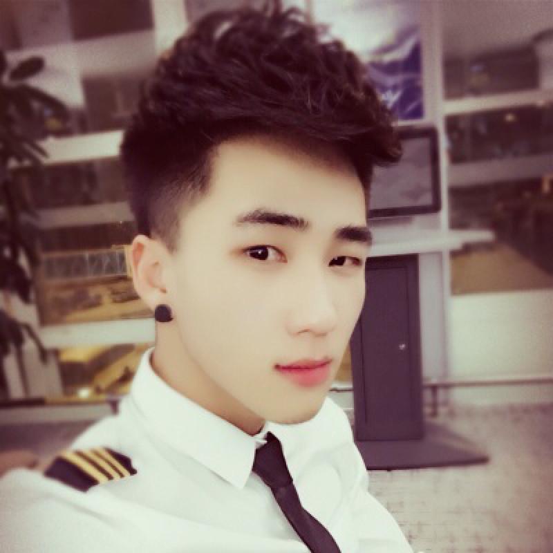 m2monline 时尚 男士长袖衬衫韩版修身理发型师海军制服衬衣肩章空少图片