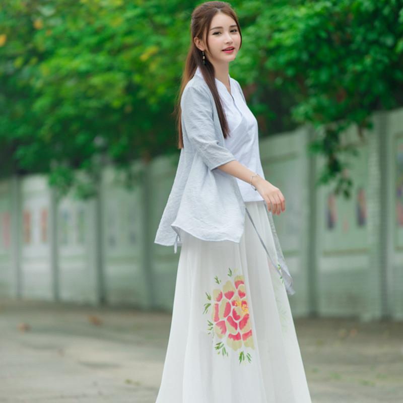 蔚缇2016夏装新款中国风手绘棉麻宽松大码系带防晒外套