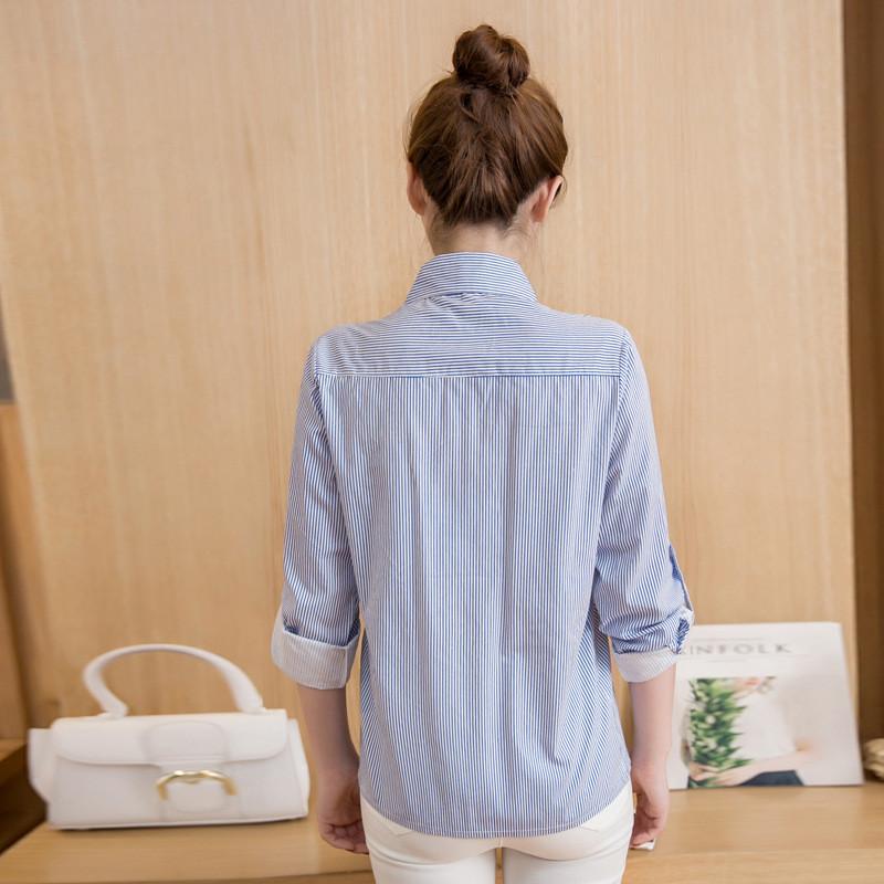 蔚缇宽松高圆圆条纹花朵刺绣衬衫长袖