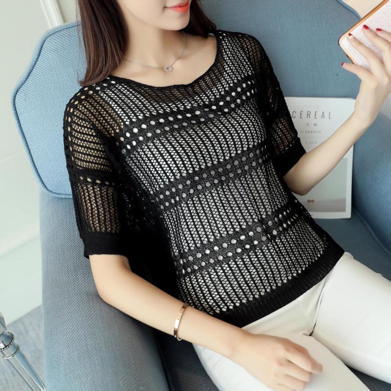 蔚缇2017新款韩版夏季蝙蝠袖打底衫大码镂空罩衫长袖上衣女t恤