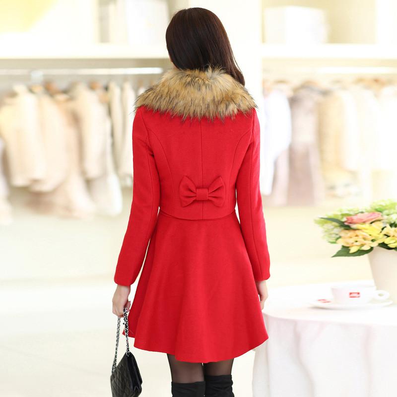蔚缇2017秋冬新款女加厚外套连衣裙两件套韩版中长款毛呢大衣9868图片