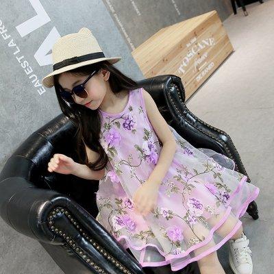 紫色花朵连衣裙3-4-5-6-8-10-12-16岁小女孩儿童六一儿童节舞蹈演出服