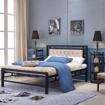 叠亿 铁艺床 铁架床 双人床 龙骨铁床 软包床头 单床