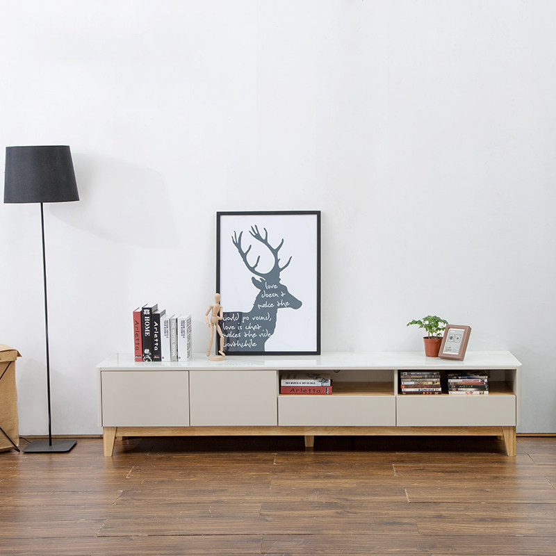 穗沃 北欧电视柜现代简约实木电视机柜客厅 小户型家具电视柜茶几组合图片