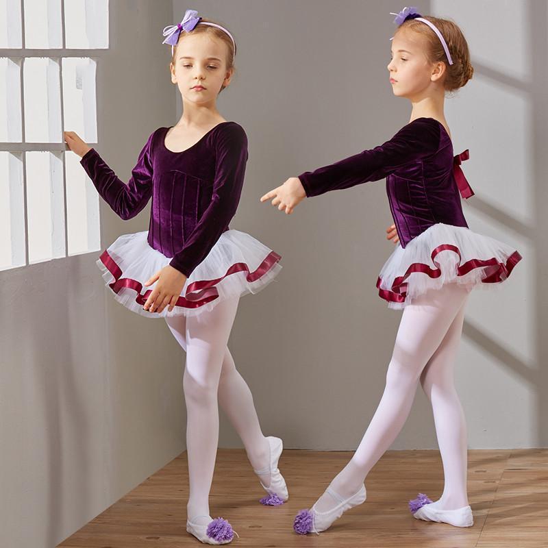儿童舞蹈服装女童长袖秋季幼儿练功服少儿芭蕾舞裙体操考级