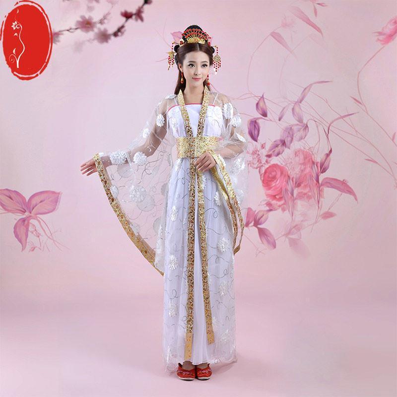 仙女拖尾唐朝古装服装古代汉服演出服装舞蹈长襦裙公主贵妃古典舞图片