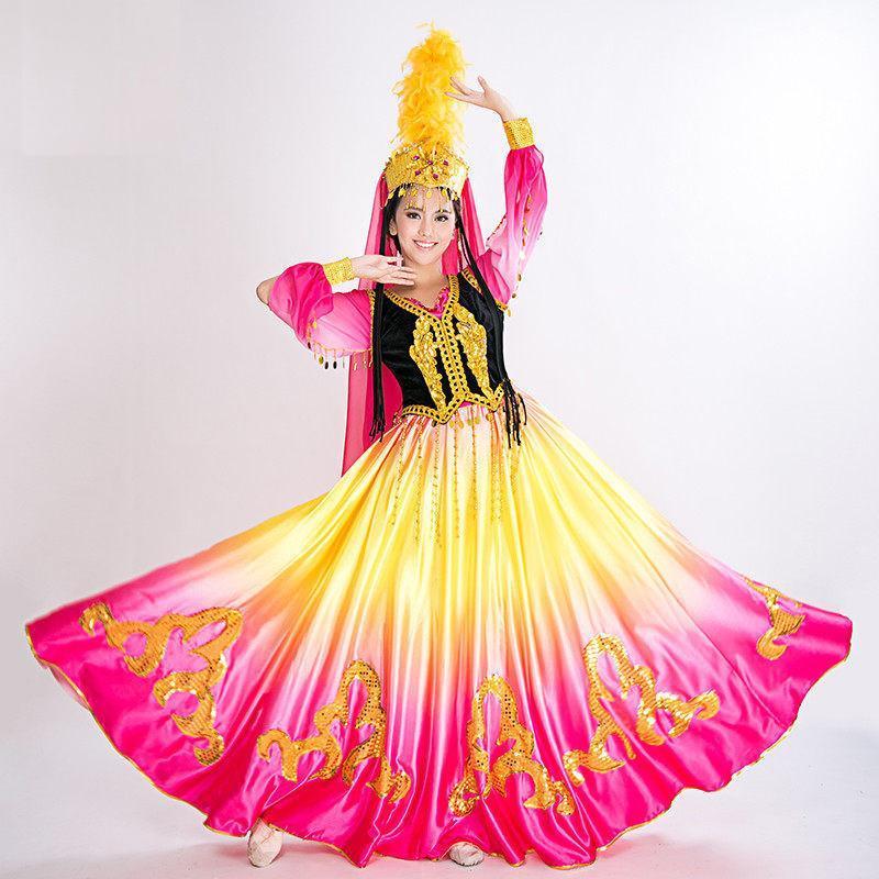 新疆维吾尔族舞蹈服装民族表演漏肚舞台装演出服图片