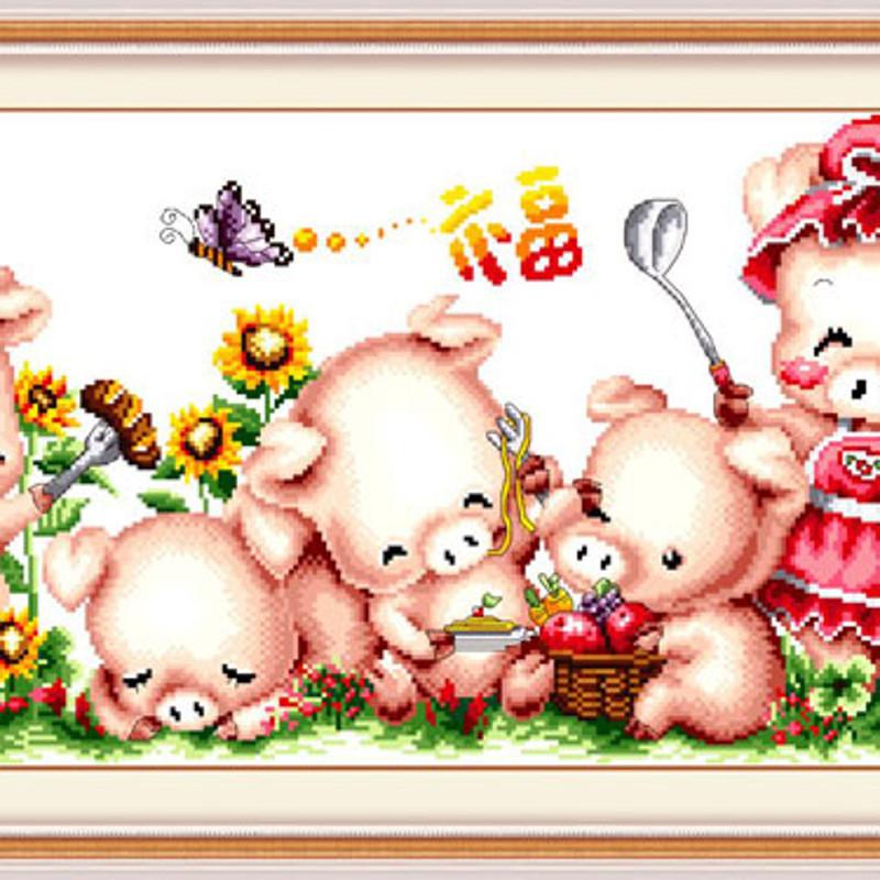 幸福小猪一家 温馨猪满家十字绣小猪一家十字绣新款客厅图案大全孚日