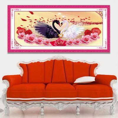 绣魁3d十字绣新款婚庆系列情比金坚天鹅十字绣结婚新款客厅大幅 图案