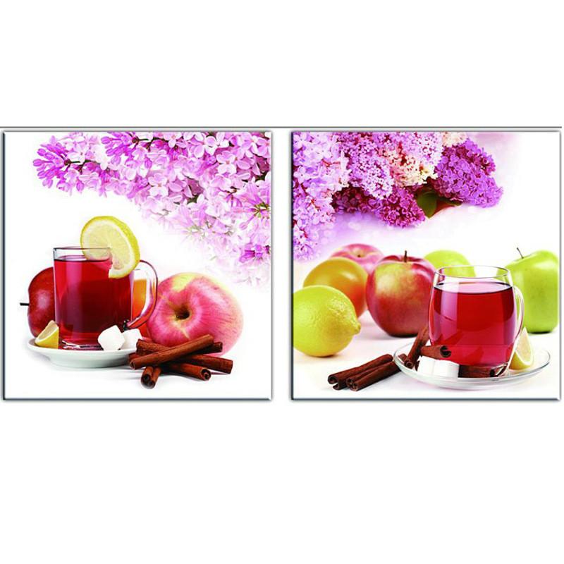 酒杯水果十字绣餐厅新款 饭厅十字绣厨房花卉欧式挂画刺绣系列 图案