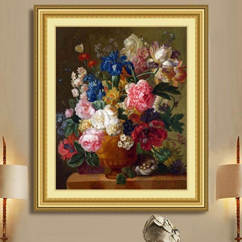 印花十字绣新款客厅大幅花瓶油画缤纷 简约现代欧式花卉 图案大全孚日