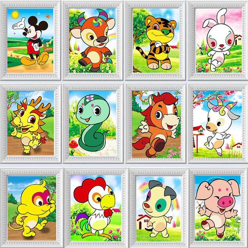 十二生肖动物钻石画带相框 儿童卡通贴钻十字绣新款卧室手工diy钻石绣