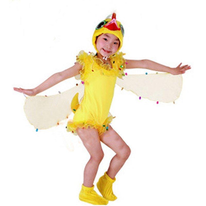儿童演出服 舞蹈表演衣服装男套装儿女 小鸟动物连体衣服小鸭短款白色