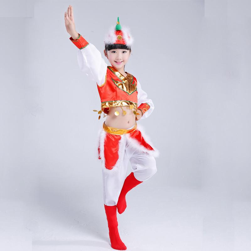 少幼儿童演出服民族男女童筷子舞蹈服圣诞节元旦蒙古舞服装表演服