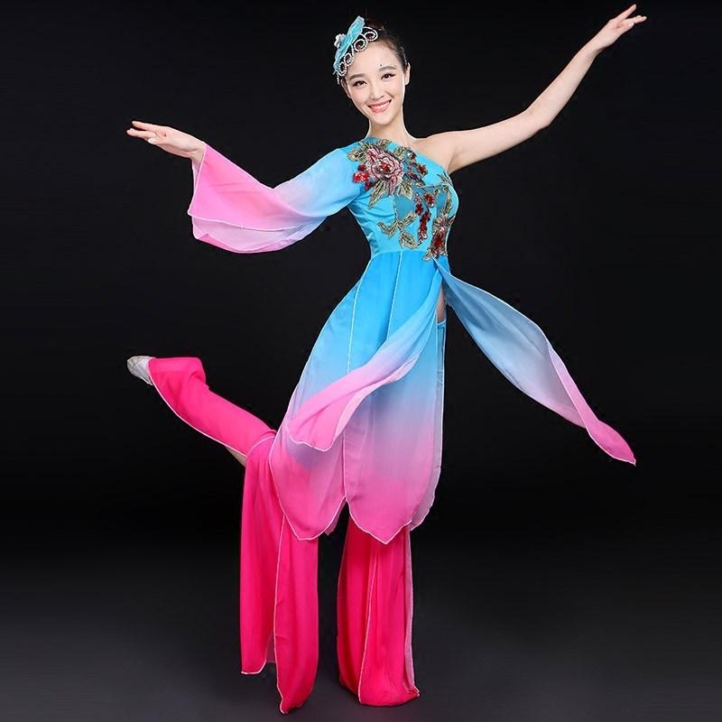 古典舞蹈服装2016新款民族舞演出服孔雀舞伴舞秧歌服伞舞广场图片