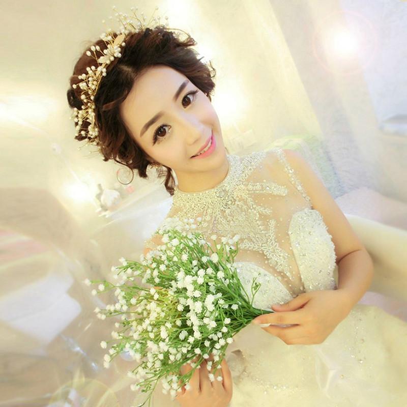 手工新娘头饰韩式结婚发饰新娘造型皇冠饰品森女结婚婚纱配饰