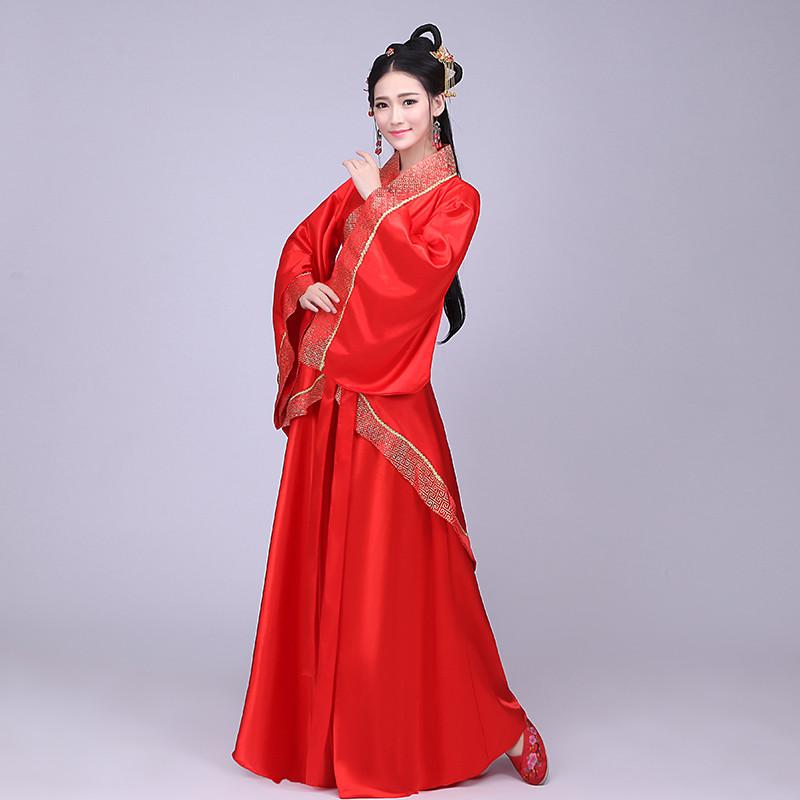 古装汉服唐装改良曲裙服装仙女公主红色汉服襦裙古装摄影写真