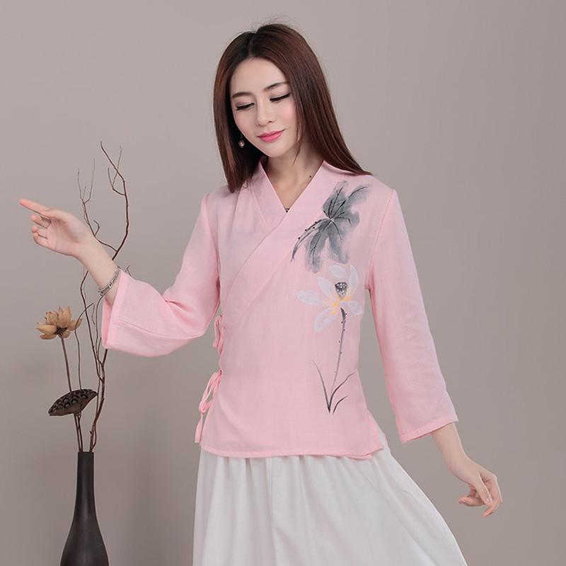 中国风手绘改良汉服中式棉麻女士