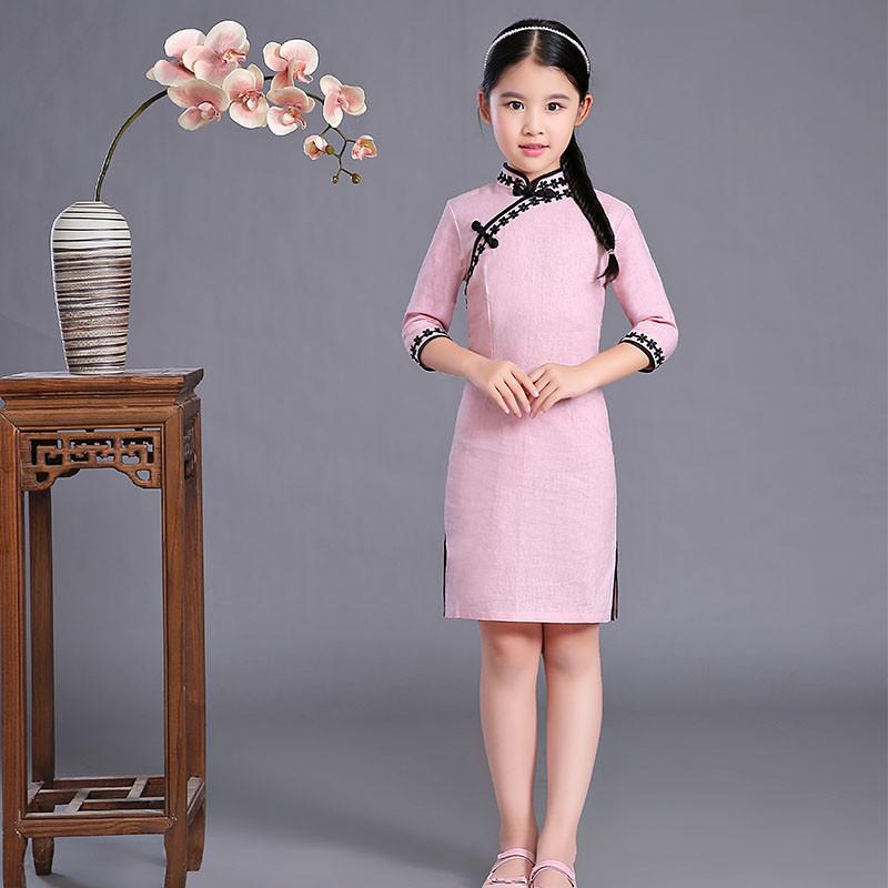 小女孩幼鲍_春季新款中式小女孩幼儿童宝宝民国复古棉麻改良旗袍裙