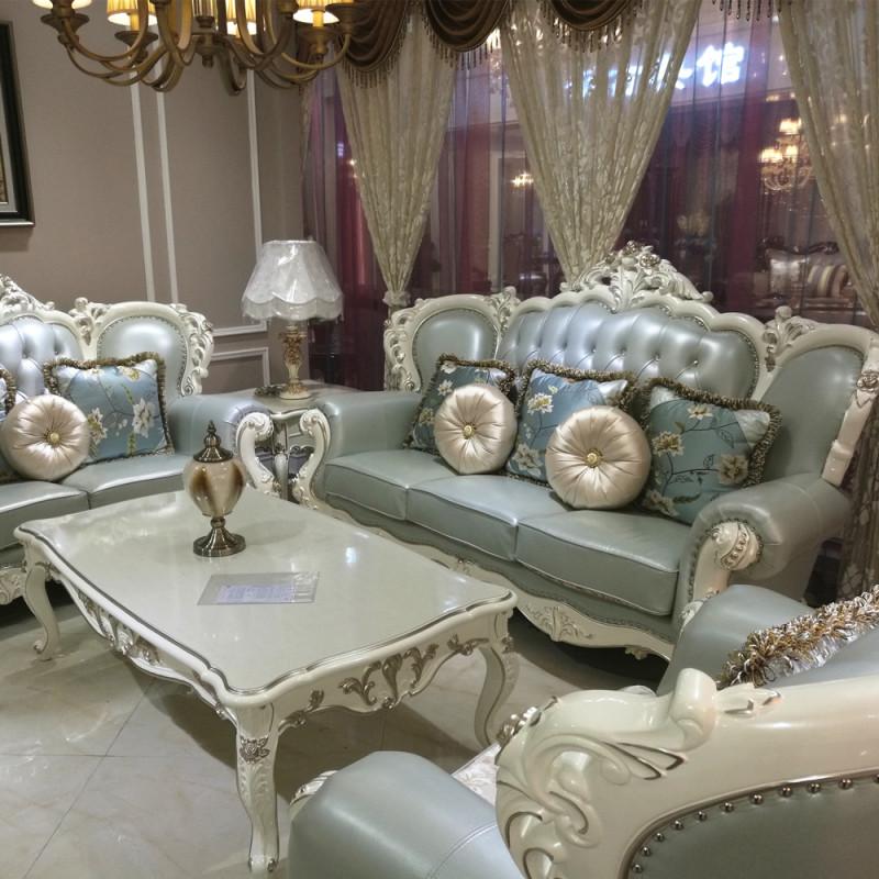欧式真皮沙发 客厅欧式沙发123组合法式沙发 简欧沙发
