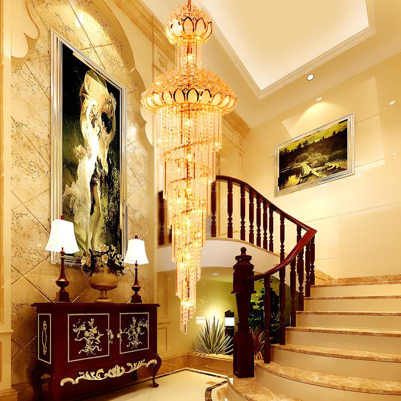 铂鑫 别墅楼梯吊灯欧式水晶灯复式楼楼中空旋转楼梯灯图片