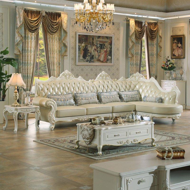 克洛蒙蒂 欧式沙发组合美式真皮沙发组合l型实木客厅沙发新古典大户型图片