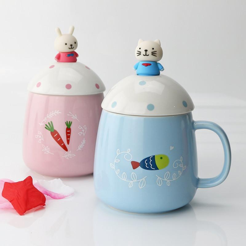 立体动物大肚儿童陶瓷水杯 创意可爱卡通马克杯 带盖勺儿童水杯咖啡杯
