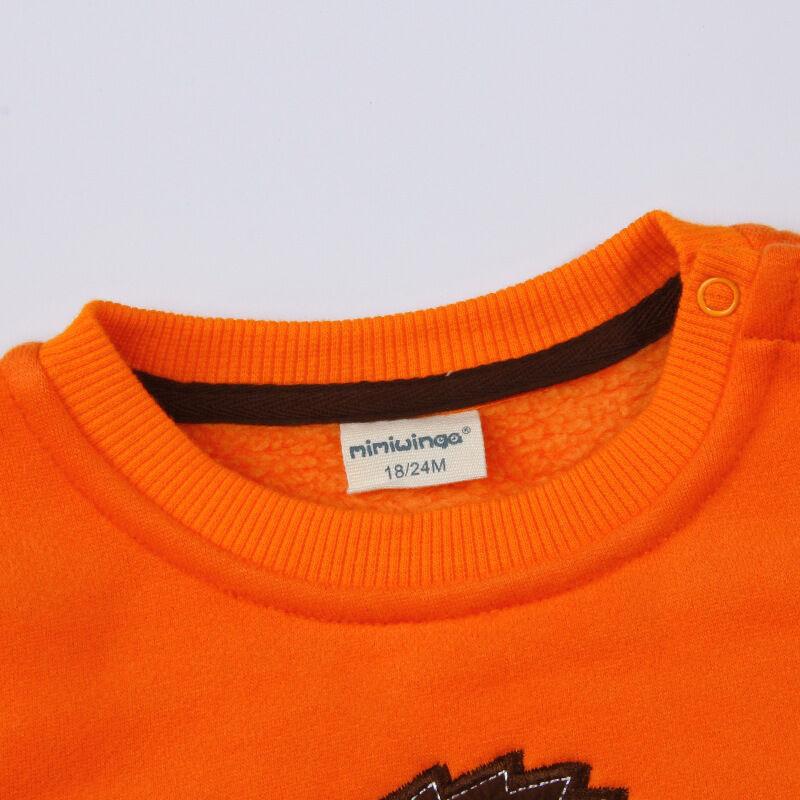 秋冬新款韩版男童卫衣加绒儿童套头衫男宝宝抓绒卫衣72t0220橙色