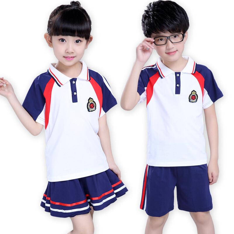 童_新款学院童套装男女童夏季校服中大童儿童徽章两件套童装33t0320