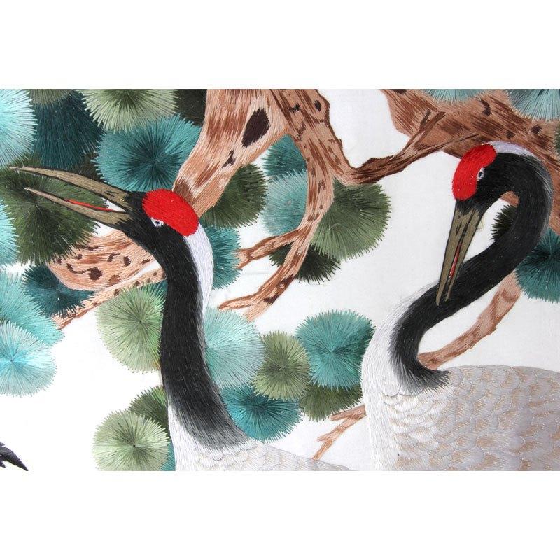 工美 苏绣轴画松鹤延年 中国特色文化礼品工艺品 客厅