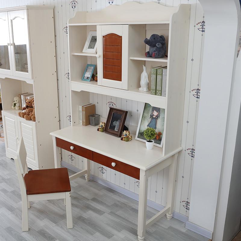 香格里湾 松木实木书桌 直角书桌儿童书架书桌组合 儿童套房家具