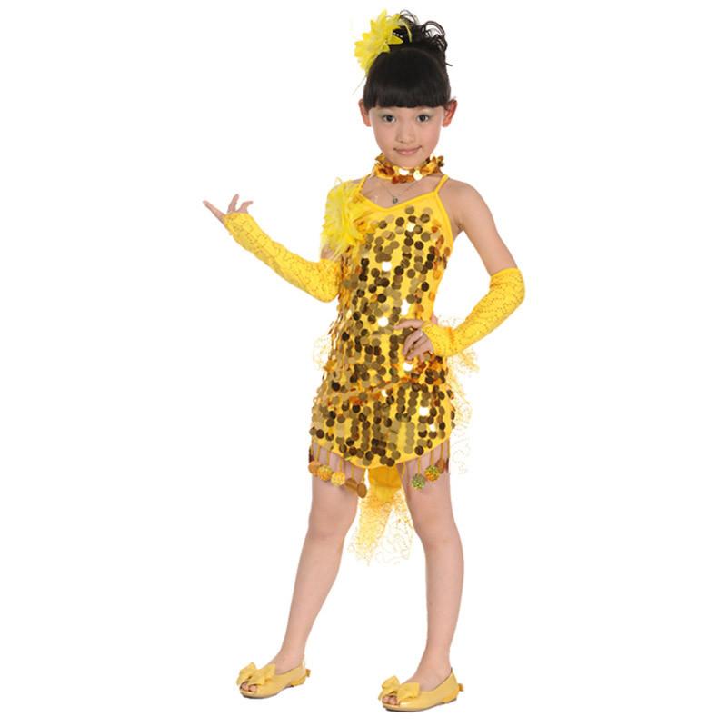 女儿童演出服装连衣裙大童小孩表演衣服少儿拉丁舞蹈裙子