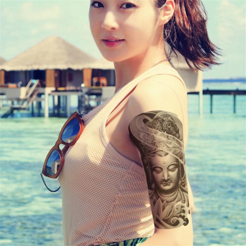 静闲居 纹身贴纸防水男女传统人物观音莲花佛像纹身贴纸个性逼真花臂