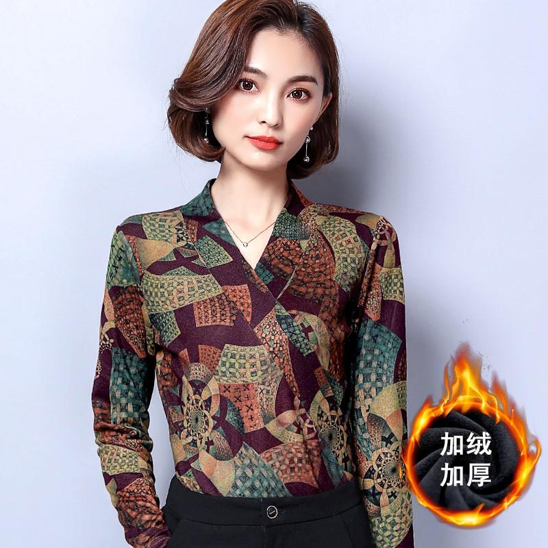 加绒加厚打底衫女长袖2017冬季新款上衣V领韩