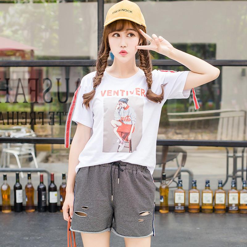 莎密2017夏韩版百搭显瘦时尚潮范人物印花撞色飘带圆领短袖t恤女