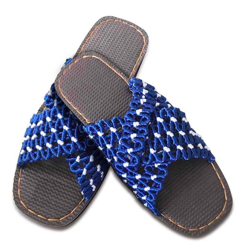 傲蒙 手工编织拖鞋 中国结5号线 亲肤透气 结实吸汗 孺子牛鞋底 深