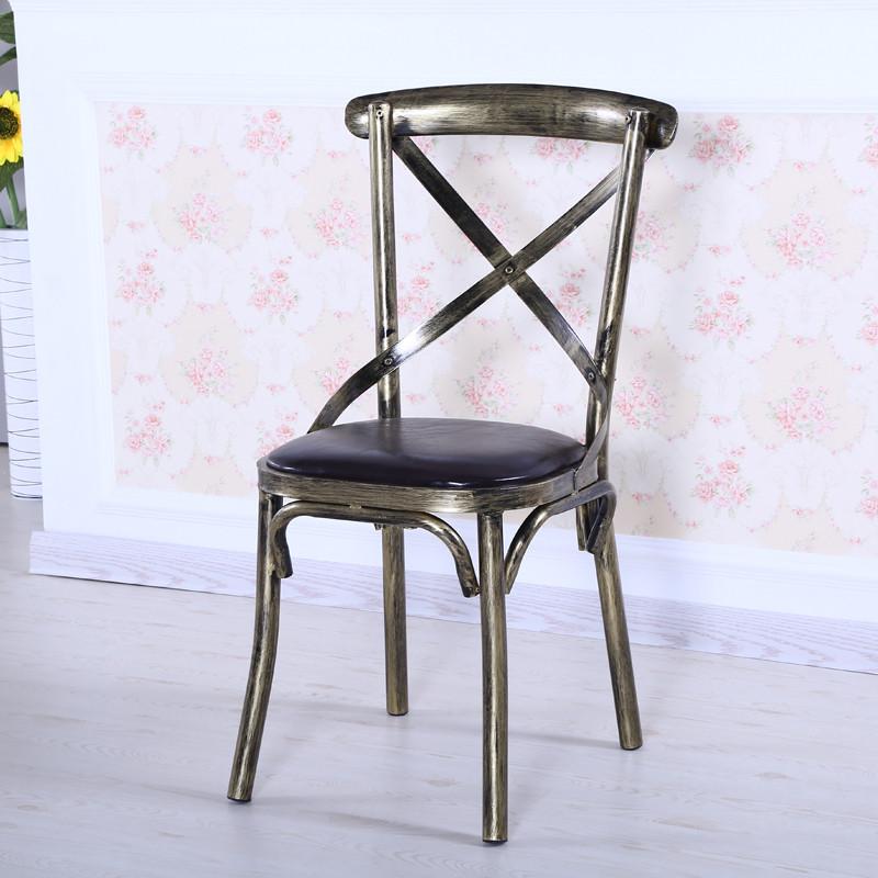 唐傲 欧式复古做旧椅子美式酒店咖啡厅餐厅铁艺背叉椅